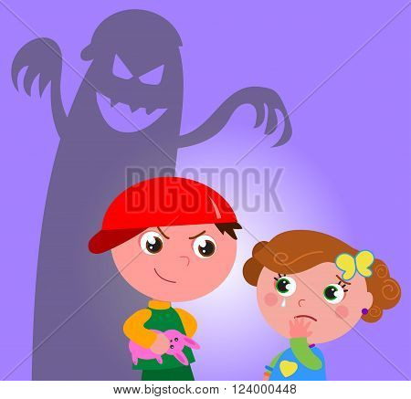 Little girl frightened by a bad bully guy vector