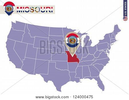 Missouri State On Usa Map. Missouri Flag And Map.