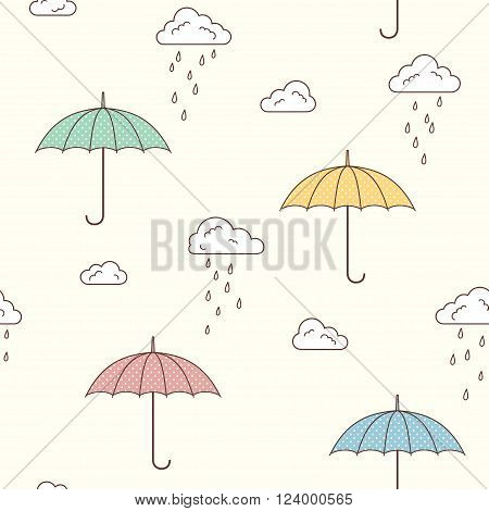 Seamless pattern with cute umbrellas clouds and rain drops