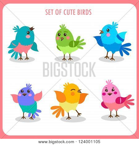 Set Of Cute Birds In Vector. Colorful Birds Vector Collection. Cute Birds Talking. Cute Birds As Pets.