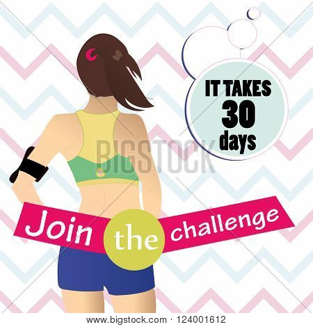 Girl athlete advertising poster. Athlete in the top and shorts ready for jogging and challenge