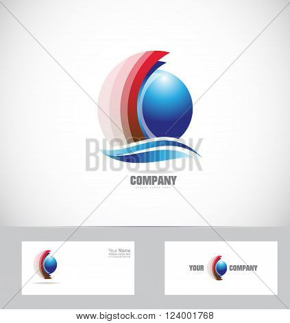 Vector company logo icon element template blue red sphere 3d