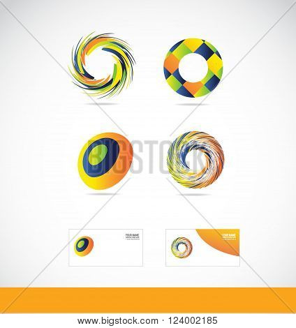 Vector company logo icon element template circle swirl swirling colors colored orange green blue