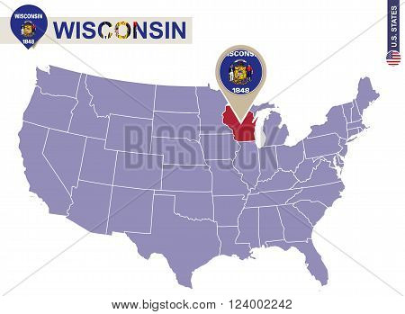 Wisconsin State On Usa Map. Wisconsin Flag And Map.