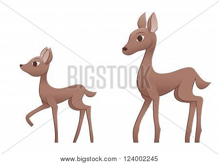 Illustration of the mother deer and fawn. White background