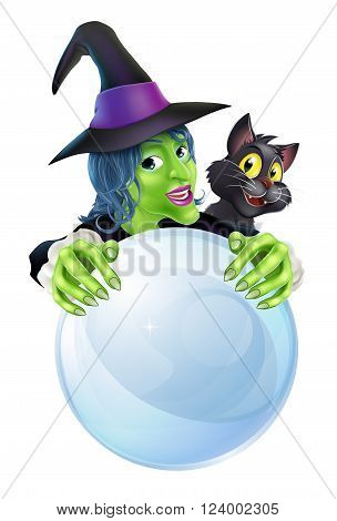 Witch Black Cat And Crystal Ball