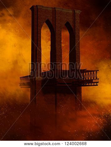 3D render of an apocalypse scenario with a destroyed bridge.