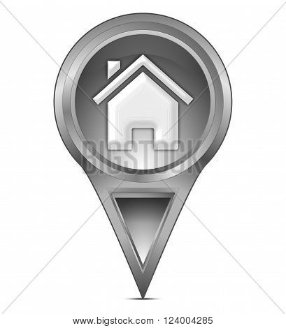 silver  map pointer with home symbol 3d