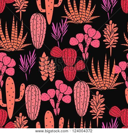 Succulents cacti plant vector seamless pattern. Botanical black and pink rose desert flora fabric print. Home garden cartoon cactuses for wallpaper, curtain, tablecloth.