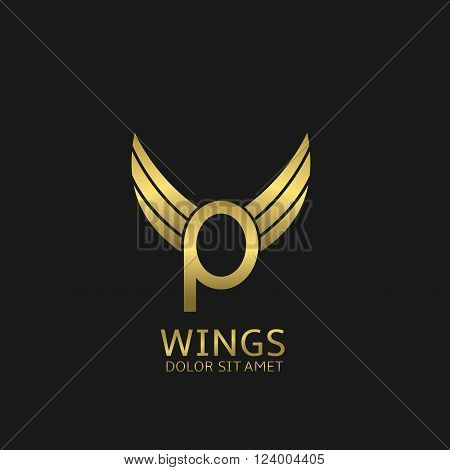 Golden P letter logo template with golden wings