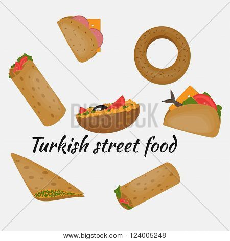 Turkish Fast food, Traditional mediterranean street food, Turkish cuisine.