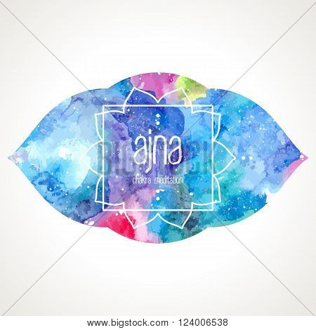 Chakra Ajna icon, ayurvedic symbol, lotus flower and frame for text. Watercolor bright texture. Text and frame edited in vector