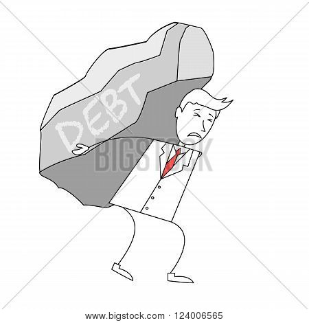 Cartoon man in suit carrying a rock labelled