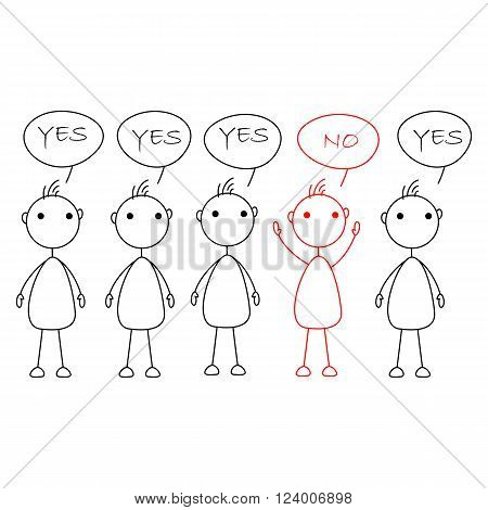 Cartoon stick figures saying yes with one person saying no