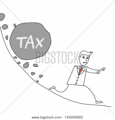 Cartoon businessman escaping from landslide with huge rock labelled as tax