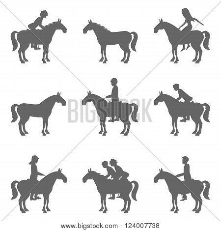 Racing horses and jockeys silhouettes. Vector silhouette