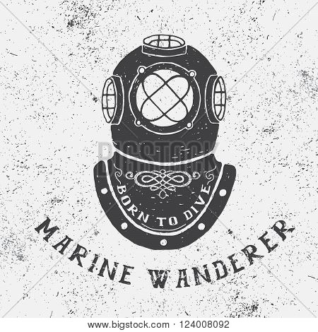 Vintage label with diving helmet.Typography design for t-shirts