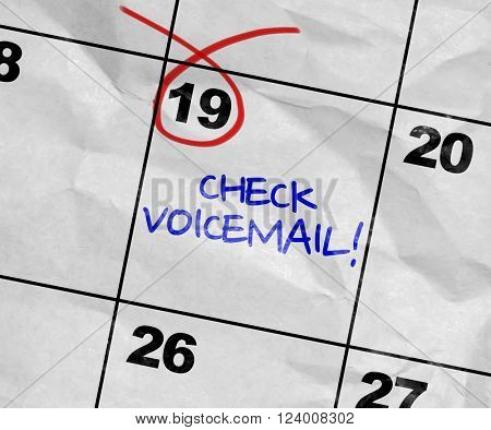 Concept image of a Calendar with the text: Check Voicemail