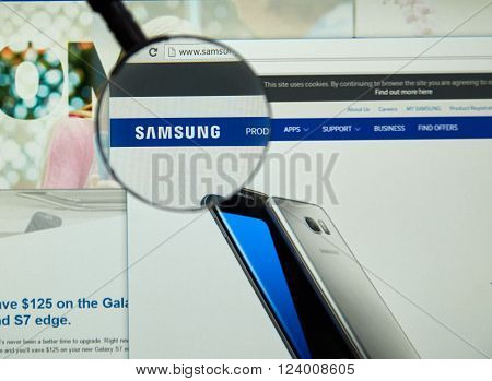 MONTREAL CANADA - MARCH 25 2016 - Samsung internet page under magnifying glass. Samsung is a South Korean multinational conglomerate company