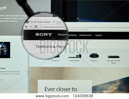 MONTREAL CANADA - MARCH 25 2016 - Sony internet page under magnifying glass. Sony is a Japanese multinational conglomerate corporation