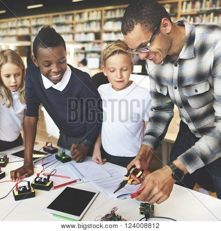 Science Electronic Circuit Experiment Laboratory Concept