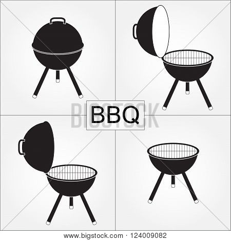 Barbecue grill with cover isolated on white background. BBQ icons set. Vector illustration.
