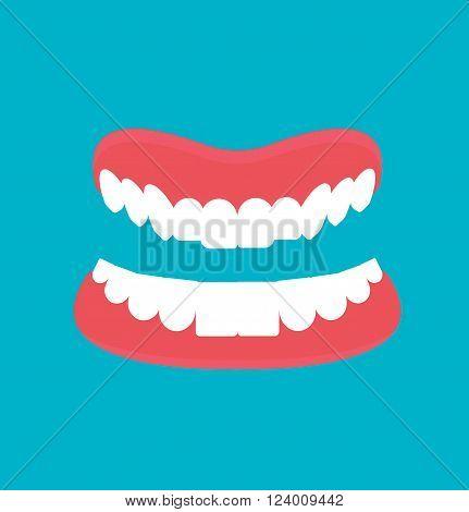 Vector cartoon false teeth. White false teeth. False teeth prosthetic isolated. Full denture with clipping path. Dental technology vector. False teeth vector.