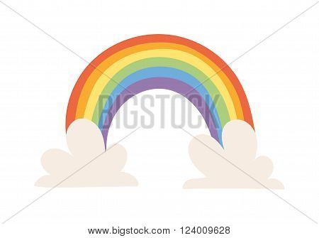 Cartoon rainbow vector illustration. Cartoon rainbow isolated on background. Cartoon rainbow icon. Cartoon rainbow flat style.
