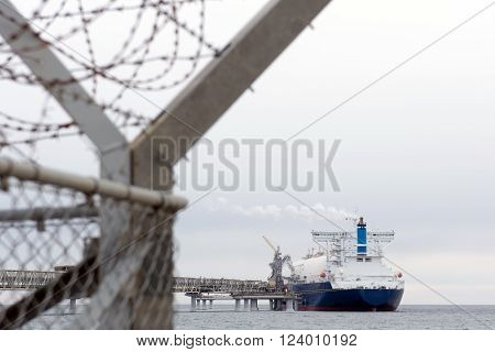 Liquefied natural gas tanker at the port