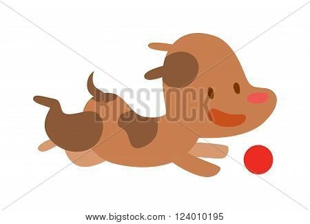 Vector Doggy play with red ball. Cartoon funny doggy play with ball isolated on white background. Doggy play and running. Cute puppy playing. Little brown Doggy play with ball.