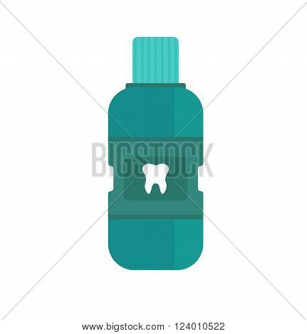 Fresh breath mouthwash vector. Breath of fresh vector. Bottle of mouthwash. Blue bottle of Fresh breath. Vector illustration Fresh breath. Dental Fresh breath mouthwash vector.