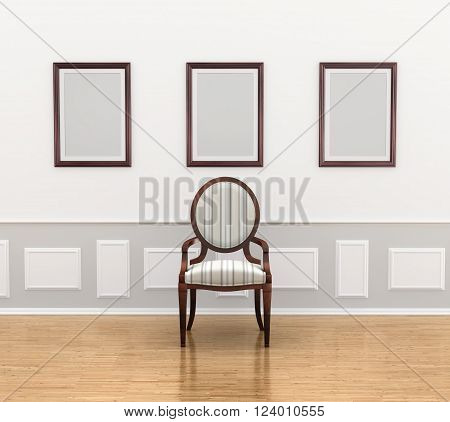 Gallery 3d illustration. ?hair in the gallery near wall panel with empty frames