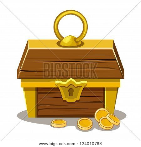wood Treasure chest and gold coin in vector