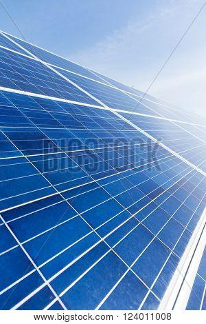 Solar energy panel with blue sky