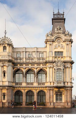Customs Building In Port Of Barcelona, Facade