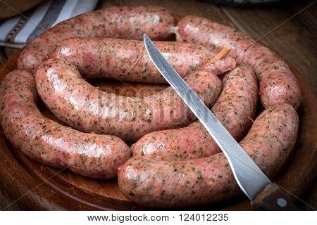 Raw white sausage - Polish culinary specialty.