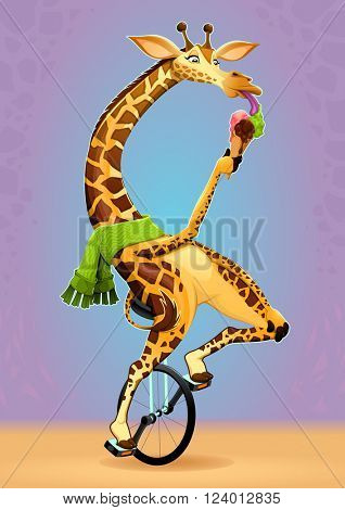 Funny giraffe on an unicycle. Vector cartoon illustration