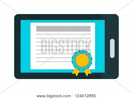 Online education certificate vector illustration. Online education certificate isolated on white background. Online education certificate vector icon illustration. Online education certificate isolated vector flat silhouette