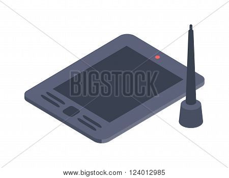 Graphics tablet vector illustration. Graphics tablet isolated on white background. Graphics tablet vector icon illustration. Graphics tablet isolated vector. Graphics tablet silhouette