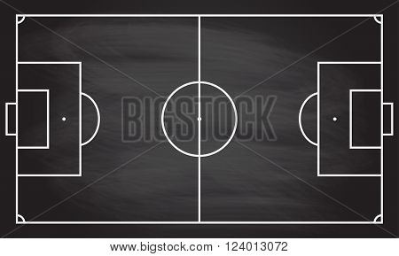 Football or soccer game field isolated on blackboard texture with chalk rubbed  background. Sport infographics element. Vector illustration.