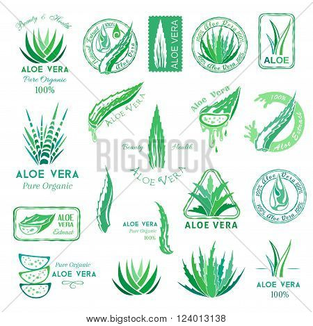 Aloe vera design elements. Aloe emblems, stamps and badeg. Stencil style.