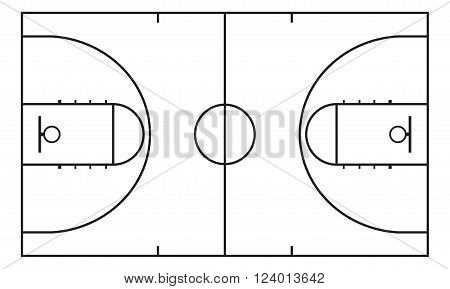 Basketball court. Background for sport strategy. Vector illustration.