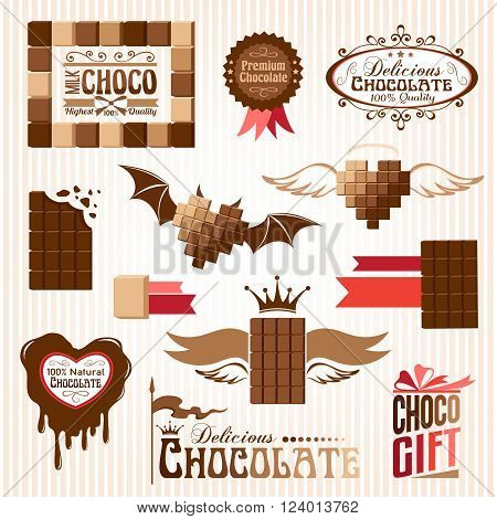 Set of chocolate decorative elements and emblems. Banners, stickers and icons.