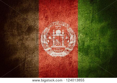 flag of Afghanistan or Afghan banner on rough pattern background