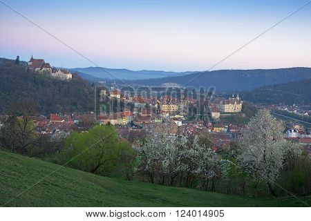 Panoramic view of Sighisoara town (Romania Transylvania) at sunrise time. Flowered trees are in the foreground.