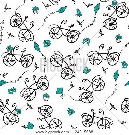 seamless pattern with a stylized bicycle and kite flying