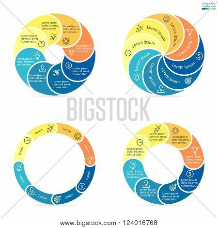 Circular infographics step by step with rounded colored sections. Set of flat pie charts. Chart, diagram with 8 steps, options, parts, processes. Vector circle template in blue and yellow.