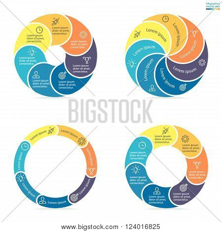 Circular infographics step by step with rounded colored sections. Set of flat pie charts. Chart, diagram with 7 steps, options, parts, processes. Vector circle template in blue and yellow.