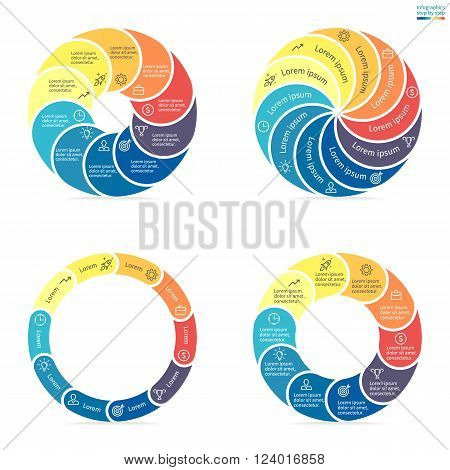 Circular infographics step by step with rounded colored sections. Set of flat pie charts. Chart, diagram with 10 steps, options, parts, processes. Vector circle template in blue and yellow.