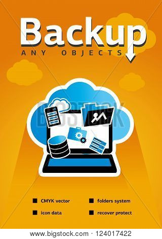Backup blank for web, site, advertising, banner, poster, board and print. Data protection and safe work